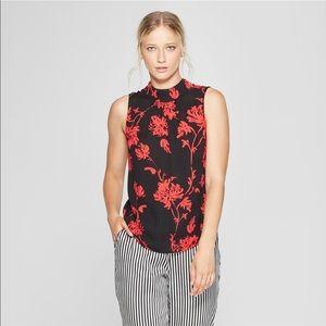 Women's Floral Print Mock Neck Tank Top L
